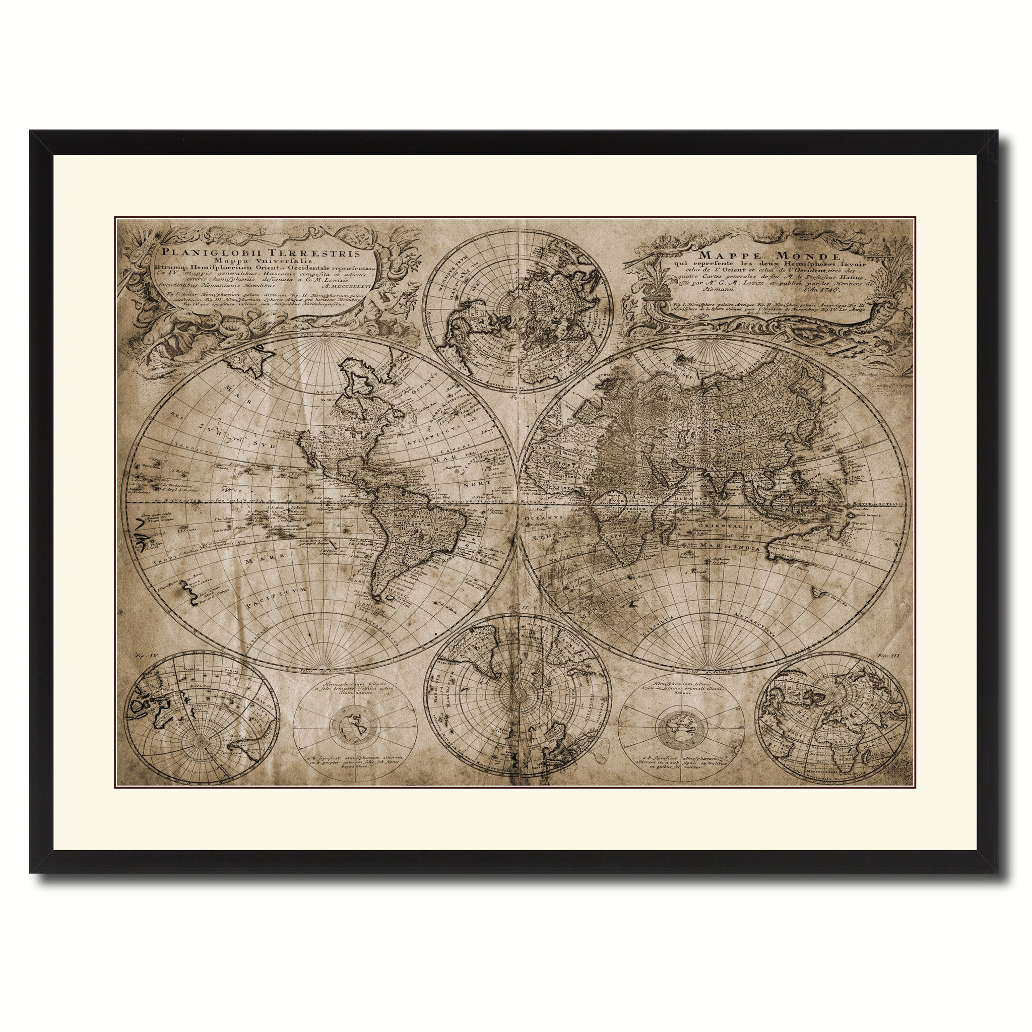world vintage sepia map canvas print picture frame gifts home decor wall art de ebay. Black Bedroom Furniture Sets. Home Design Ideas