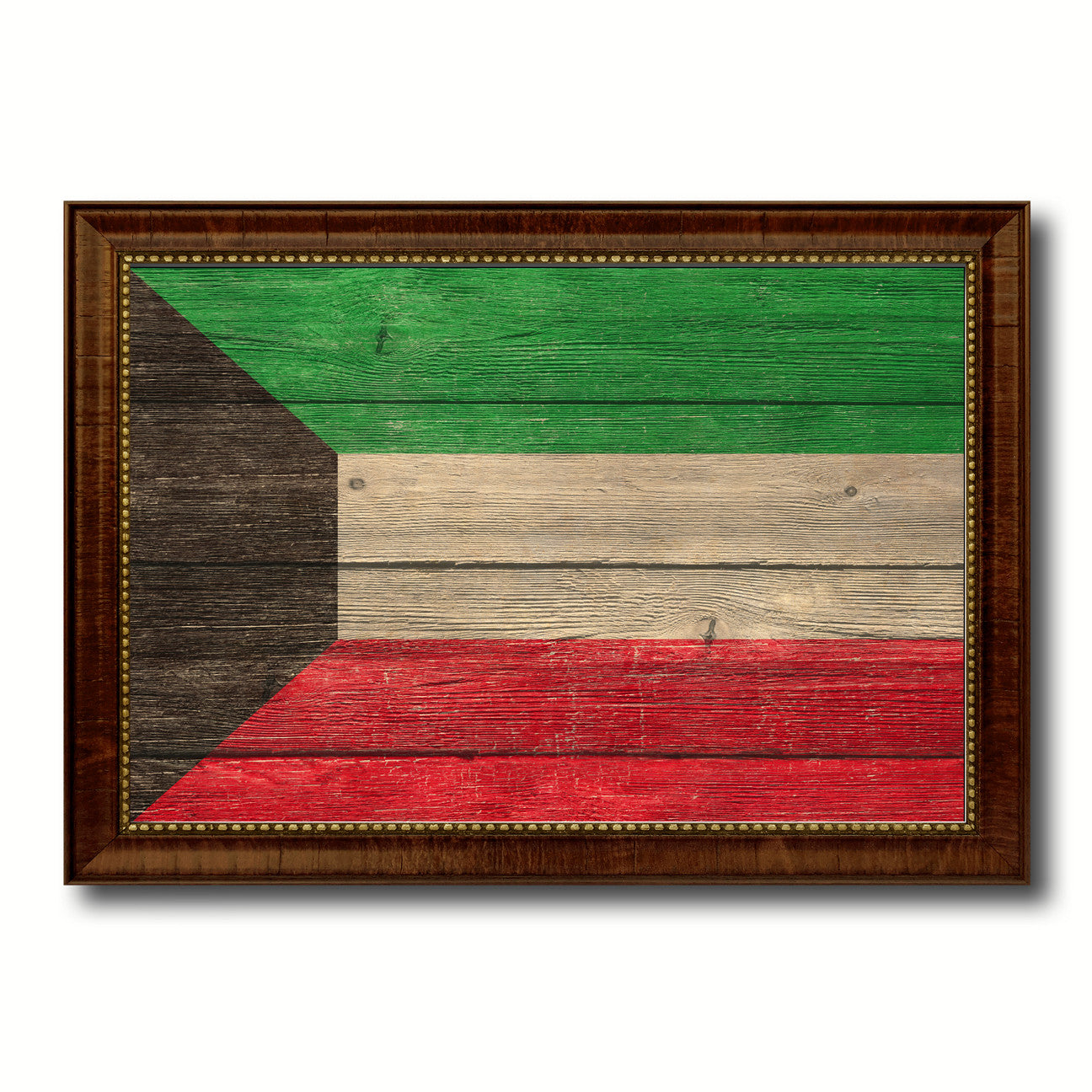 Kuwait Country Flag Texture Canvas Print with Brown Custom Picture Frame Home Decor Gift Ideas Wall Art Decoration