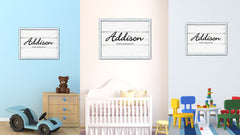 Addison Name Plate White Wash Wood Frame Canvas Print Boutique Cottage Decor Shabby Chic