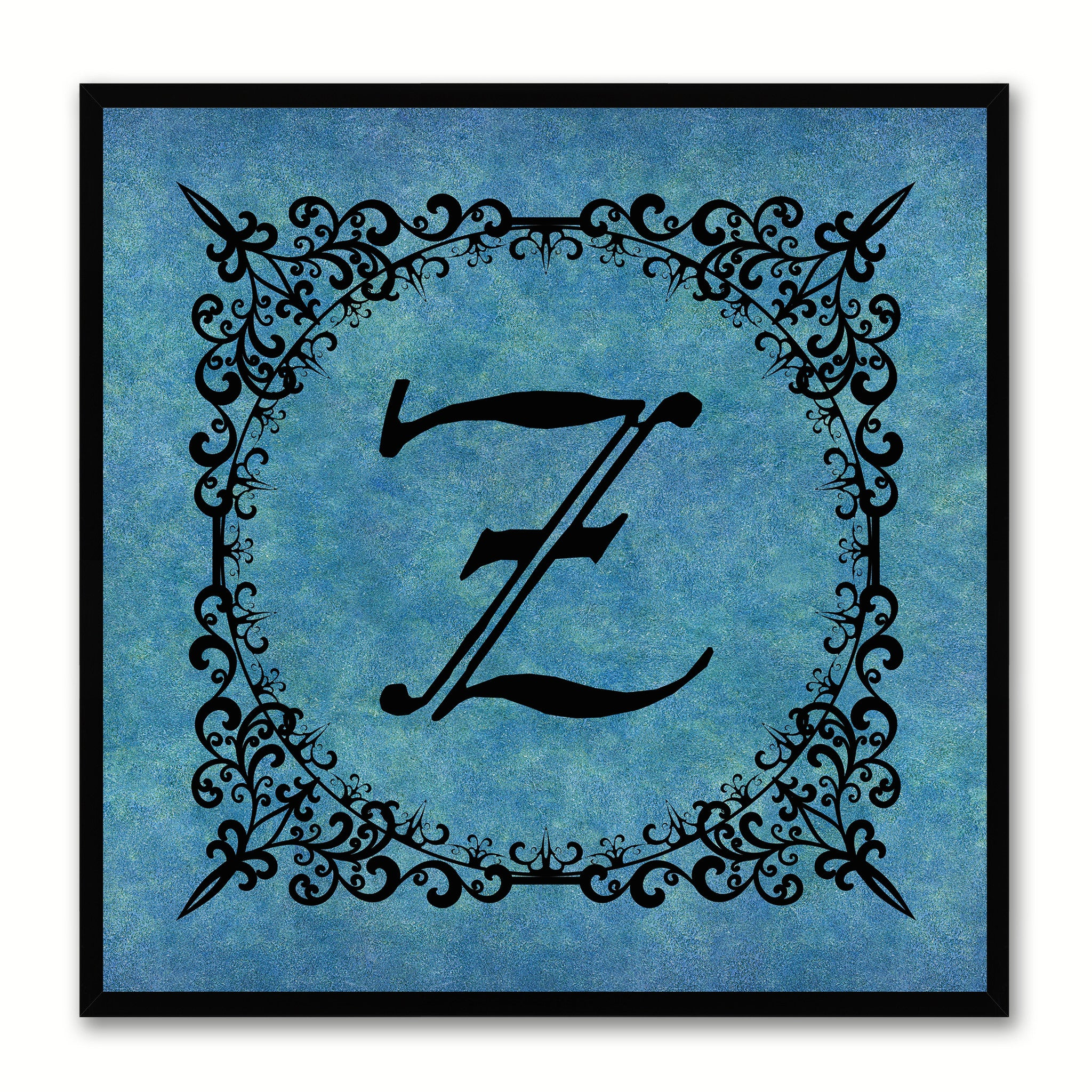 Alphabet Z Blue Canvas Print Black Frame Kids Bedroom Wall Décor Home Art