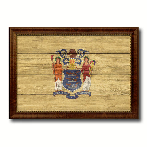 New Jersey State Flag Texture Canvas Print with Brown Picture Frame Gifts Home Decor Wall Art Collectible Decoration