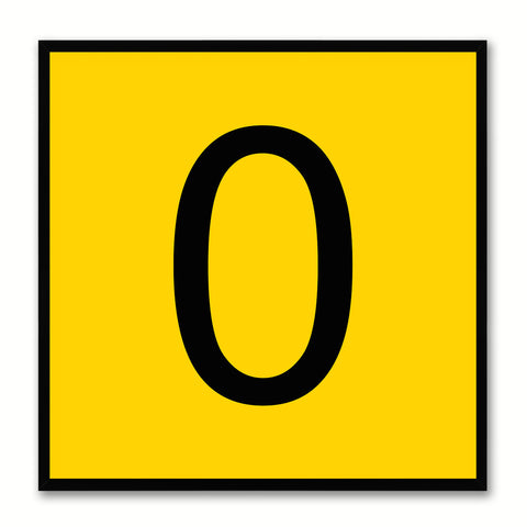 Number 0 Yellow Canvas Print Black Frame Kids Bedroom Wall Décor Home Art