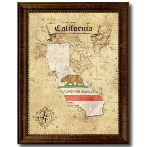 California State Vintage Map Home Decor Wall Art Office Decoration Gift Ideas