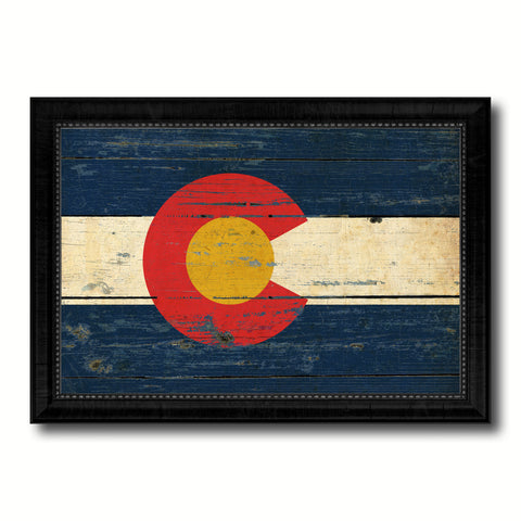 Colorado State Vintage Flag Canvas Print with Black Picture Frame Home Decor Man Cave Wall Art Collectible Decoration Artwork Gifts