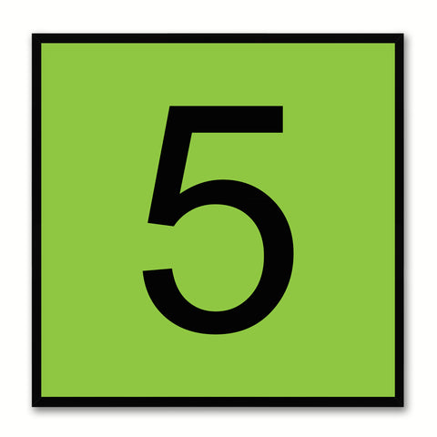 Number 5 Green Canvas Print Black Frame Kids Bedroom Wall Décor Home Art