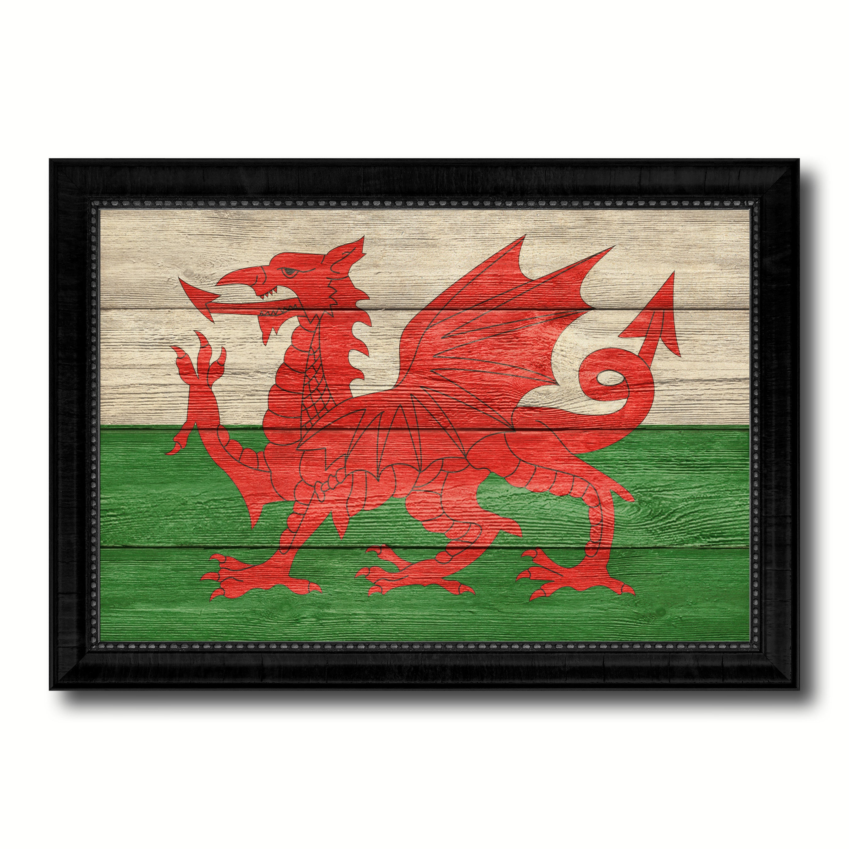 Wales Country Flag Texture Canvas Print With Black Picture Frame Home Decor Wall Art Decoration Collection Gift Ideas