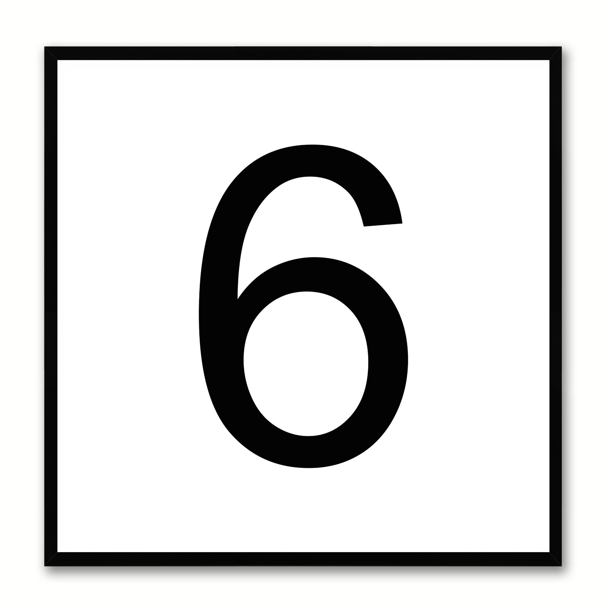 Number 6 White Canvas Print Black Frame Kids Bedroom Wall Décor Home Art