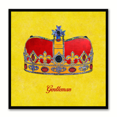 Gentleman Yellow Canvas Print Black Frame Kids Bedroom Wall Home Décor