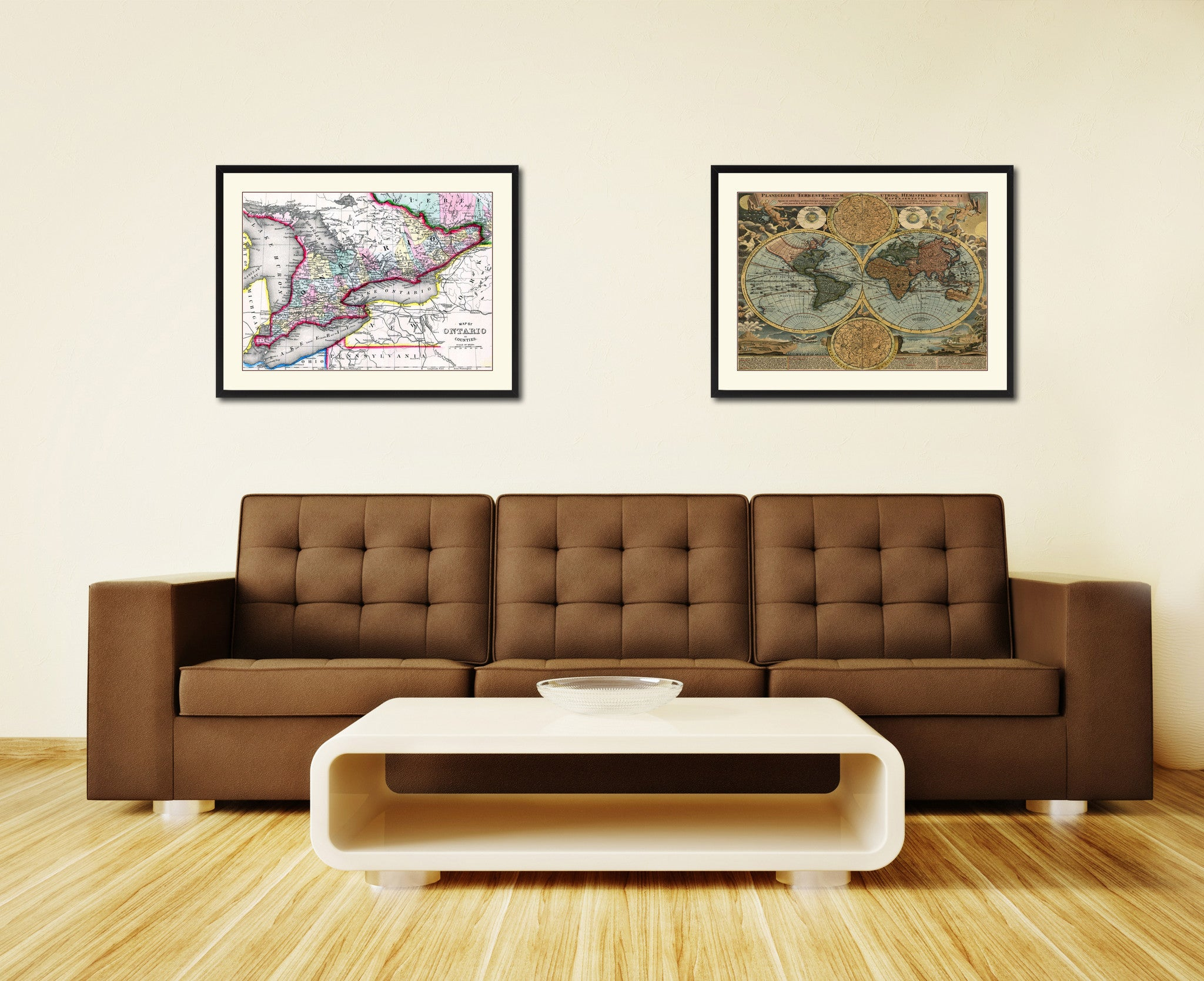 Ontario canada vintage antique map wall art bedroom home for Home decor canada