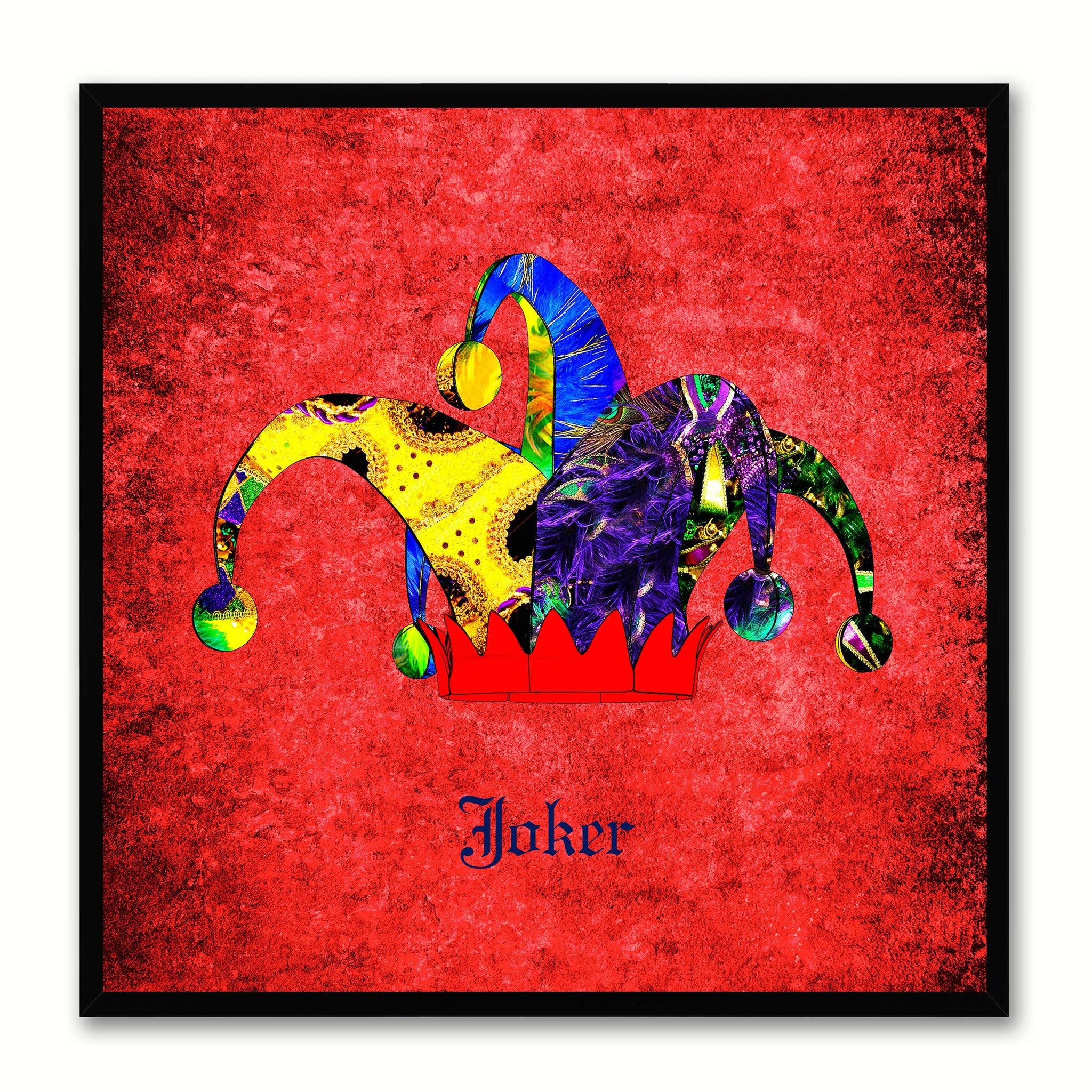 Joker Red Canvas Print Black Frame Kids Bedroom Wall Home Décor