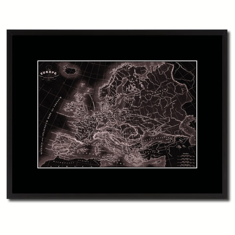 Ancient Europe Vintage Vivid Sepia Map Canvas Print, Picture Frames Home Decor Wall Art Decoration Gifts