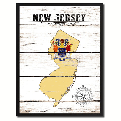 New Jersey State Flag Gifts Home Decor Wall Art Canvas Print Picture Frames