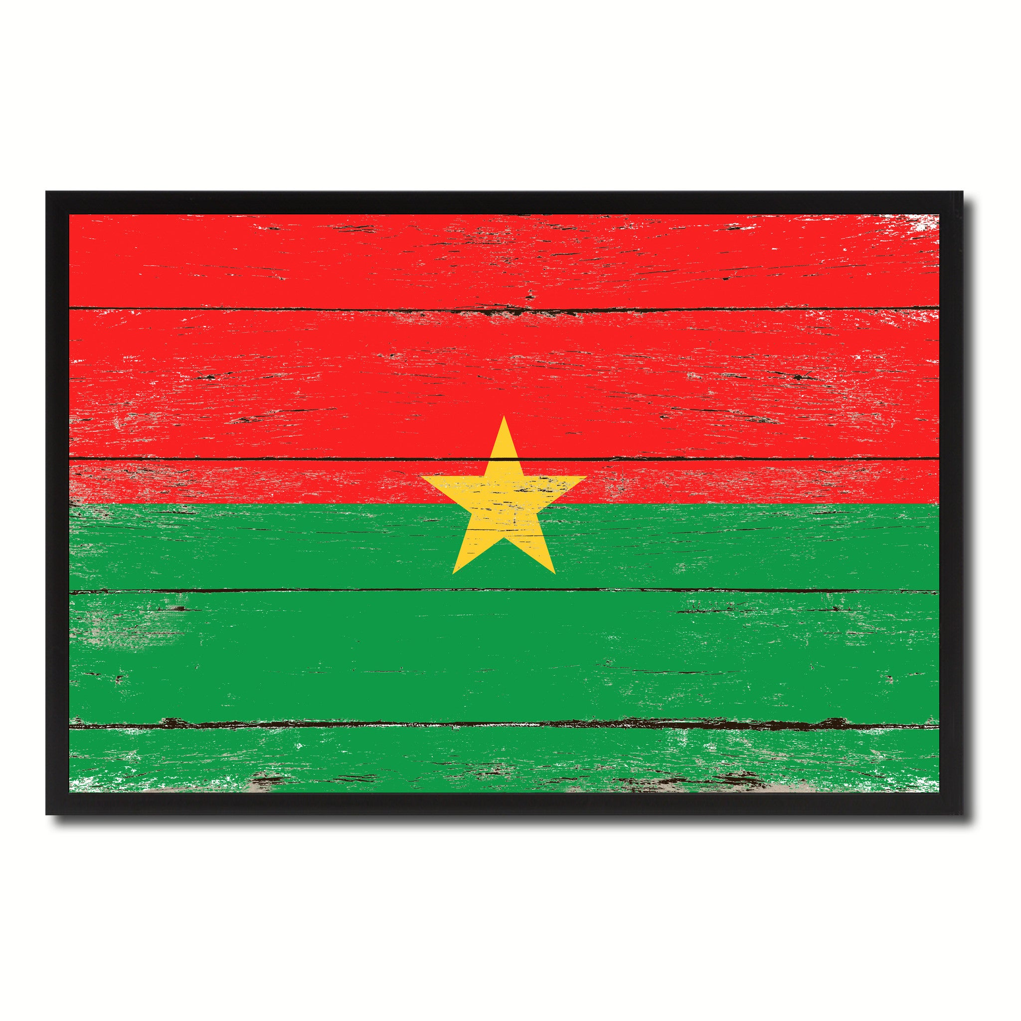 Burkina Faso Country National Flag Vintage Canvas Print with Picture Frame Home Decor Wall Art Collection Gift Ideas