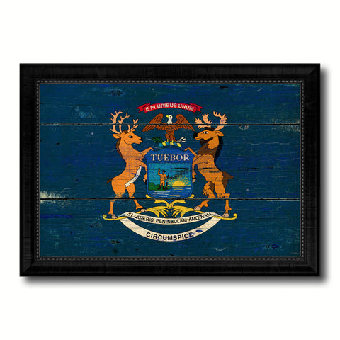 Michigan State Vintage Flag Canvas Print with Black Picture Frame Home Decor Man Cave Wall Art Collectible Decoration Artwork Gifts