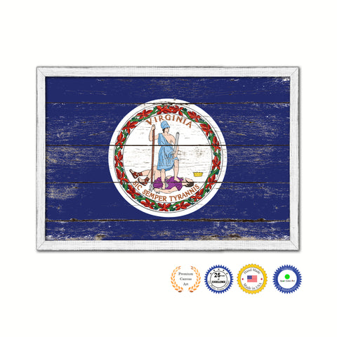 Virginia Flag Gifts Home Decor Wall Art Canvas Print with Custom Picture Frame