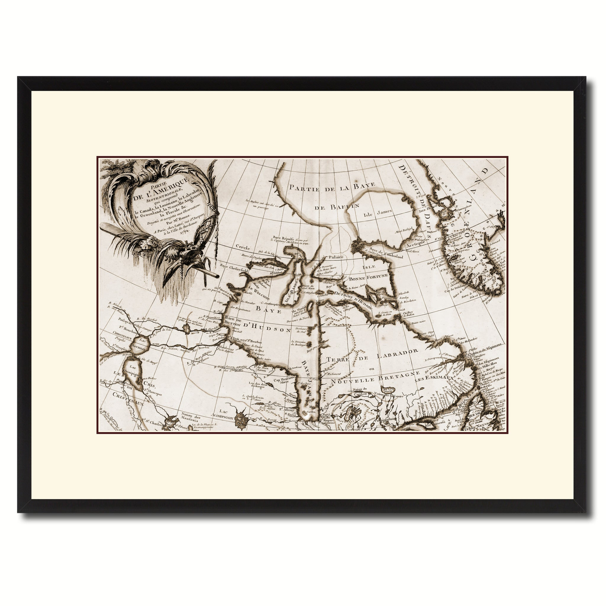 North East Canada & Greenland Vintage Sepia Map Canvas Print, Picture Frame Gifts Home Decor Wall Art Decoration