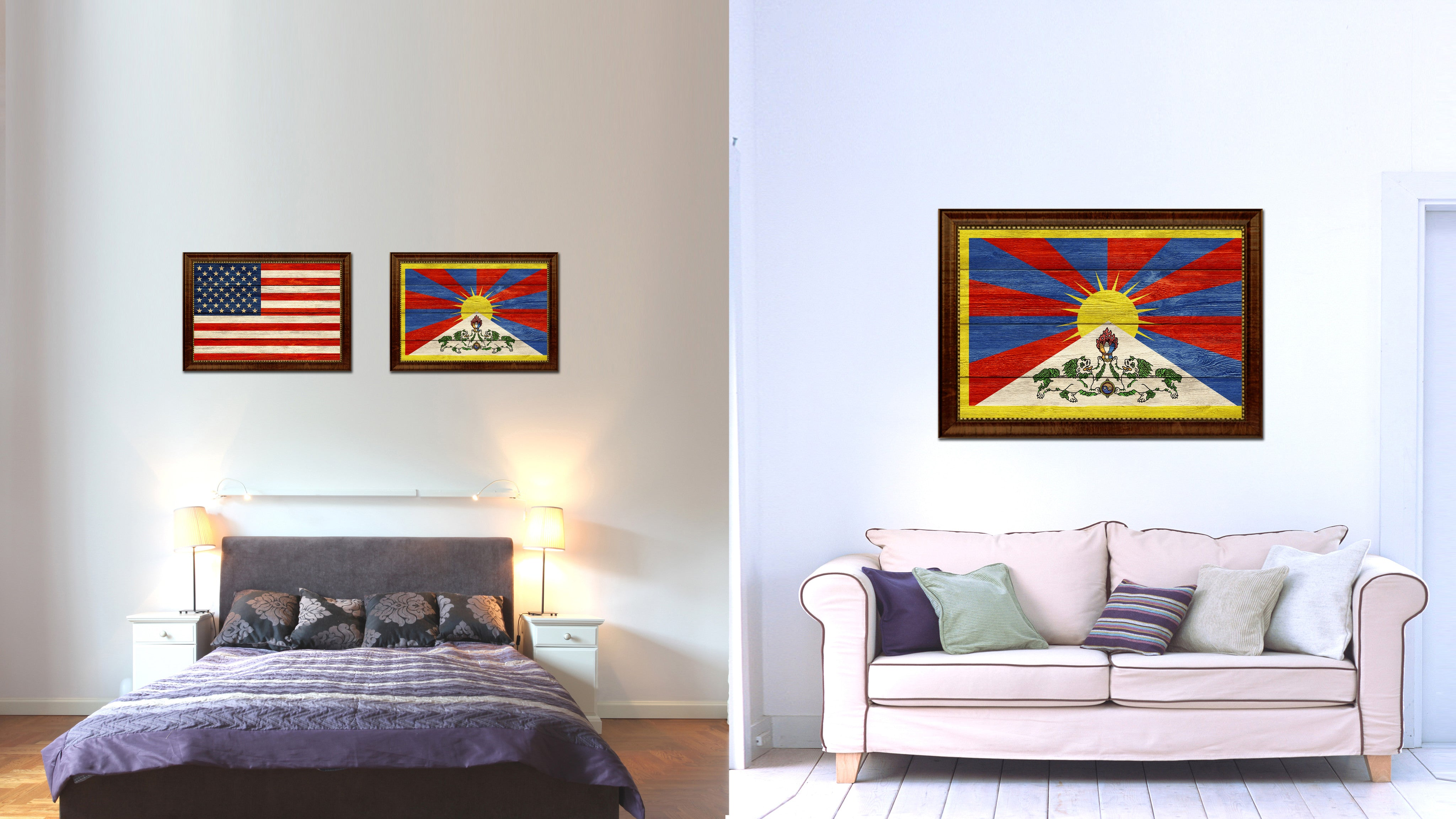 Tibet Country Flag Texture Canvas Print with Brown Custom Picture Frame Home Decor Gift Ideas Wall Art Decoration