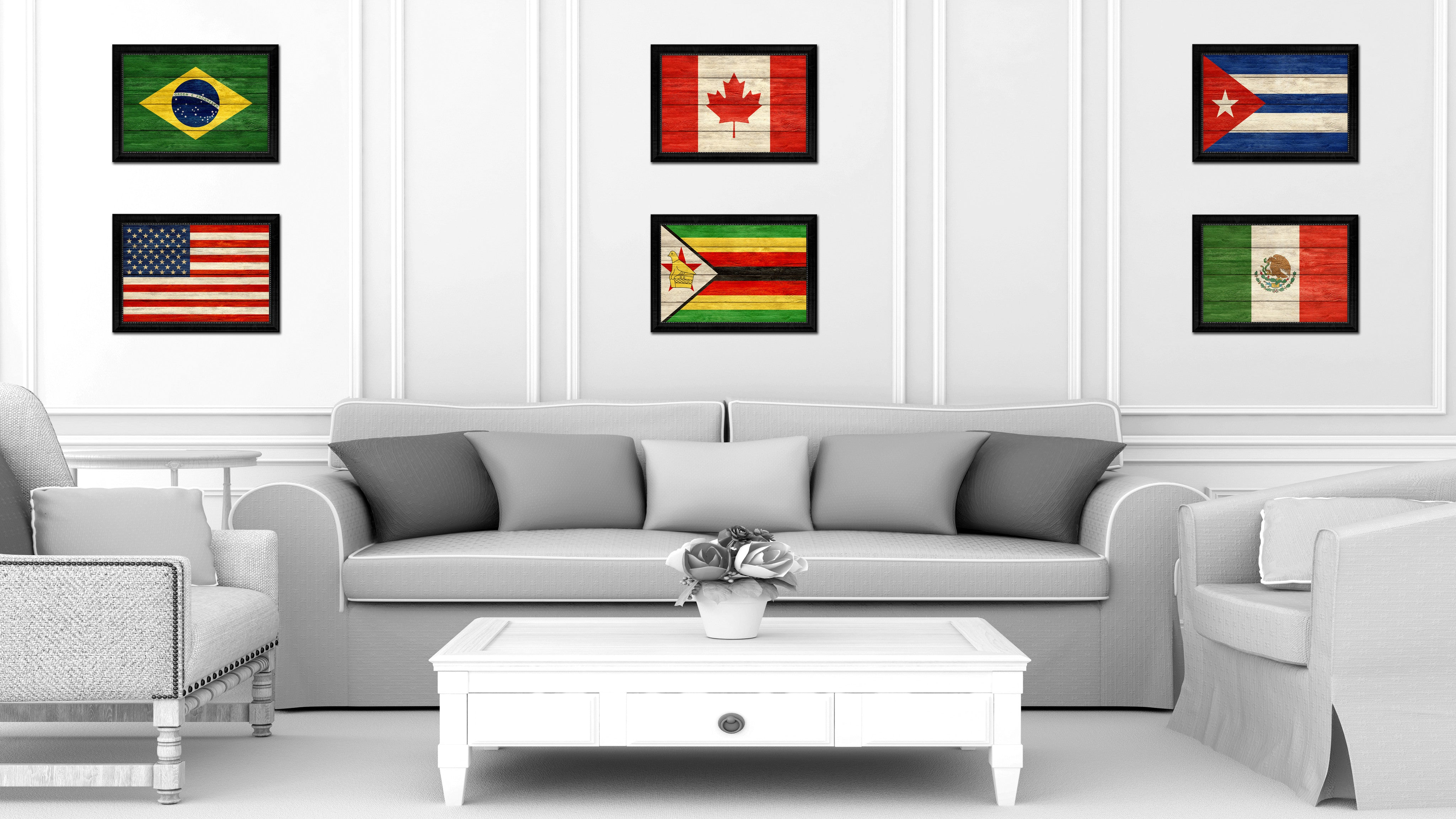 Zimbabwe Country Texture Flag Rustic Vintage Giclee Print Home Decor