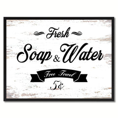 Fresh Soap & Water Vintage Sign White Canvas Print Home Decor Wall Art Gifts Picture Frames