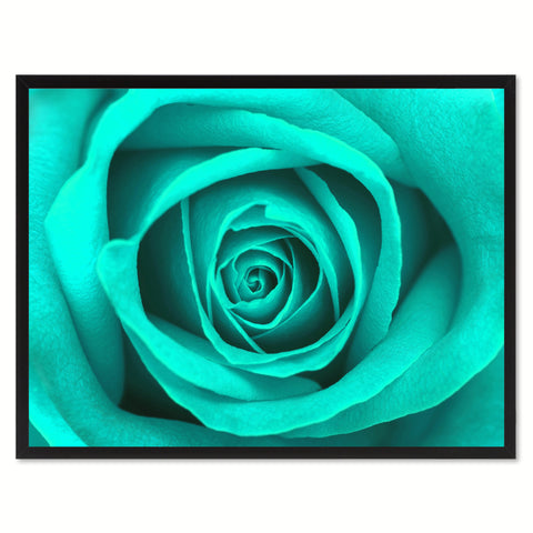 Aqua Rose Flower Framed Canvas Print Home Décor Wall Art