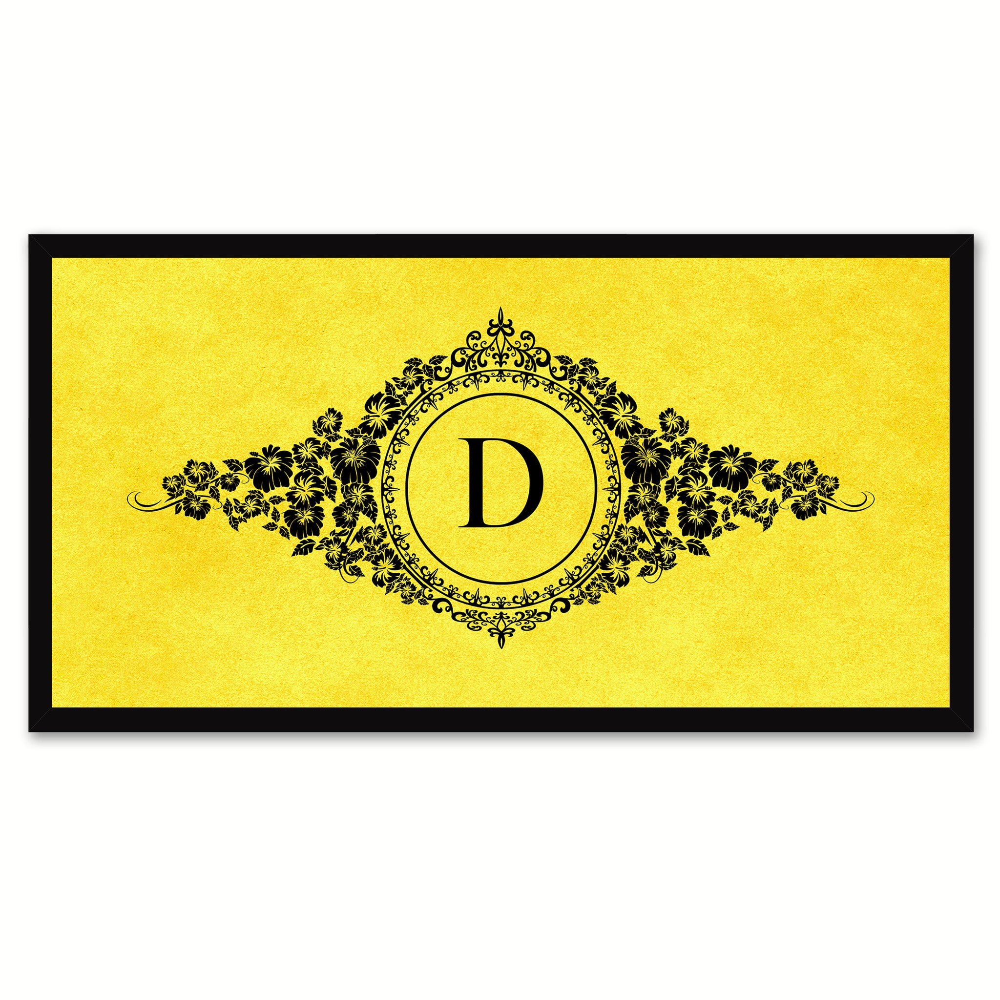 Alphabet Letter D Yellow Canvas Print, Black Custom Frame