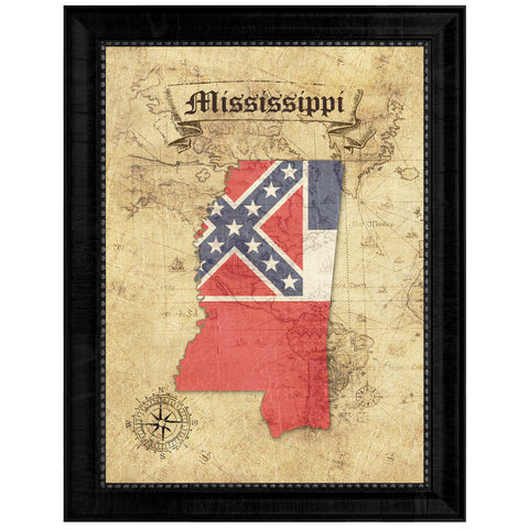 Mississippi State Flag Canvas Print with Custom Brown Picture Frame Home Decor Wall Art Decoration Gifts