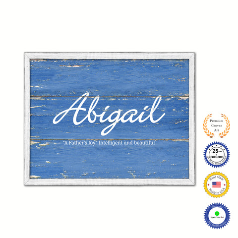 Abigail Name Plate White Wash Wood Frame Canvas Print Boutique Cottage Decor Shabby Chic