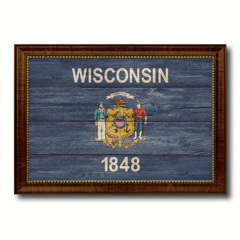 Wisconsin State Flag Texture Canvas Print with Brown Picture Frame Gifts Home Decor Wall Art Collectible Decoration