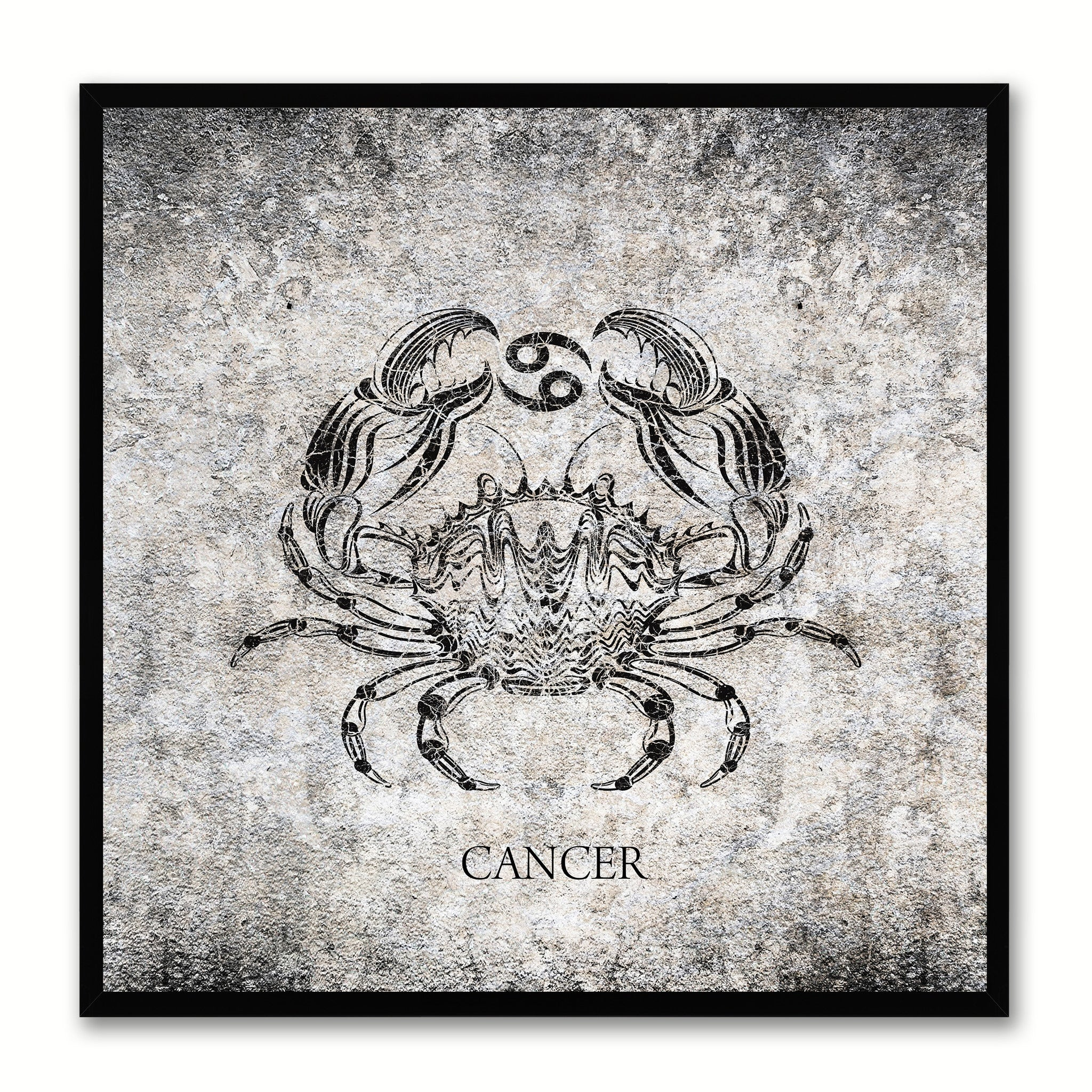 Zodiac Cancer Horoscope Black Canvas Print, Black Custom Frame