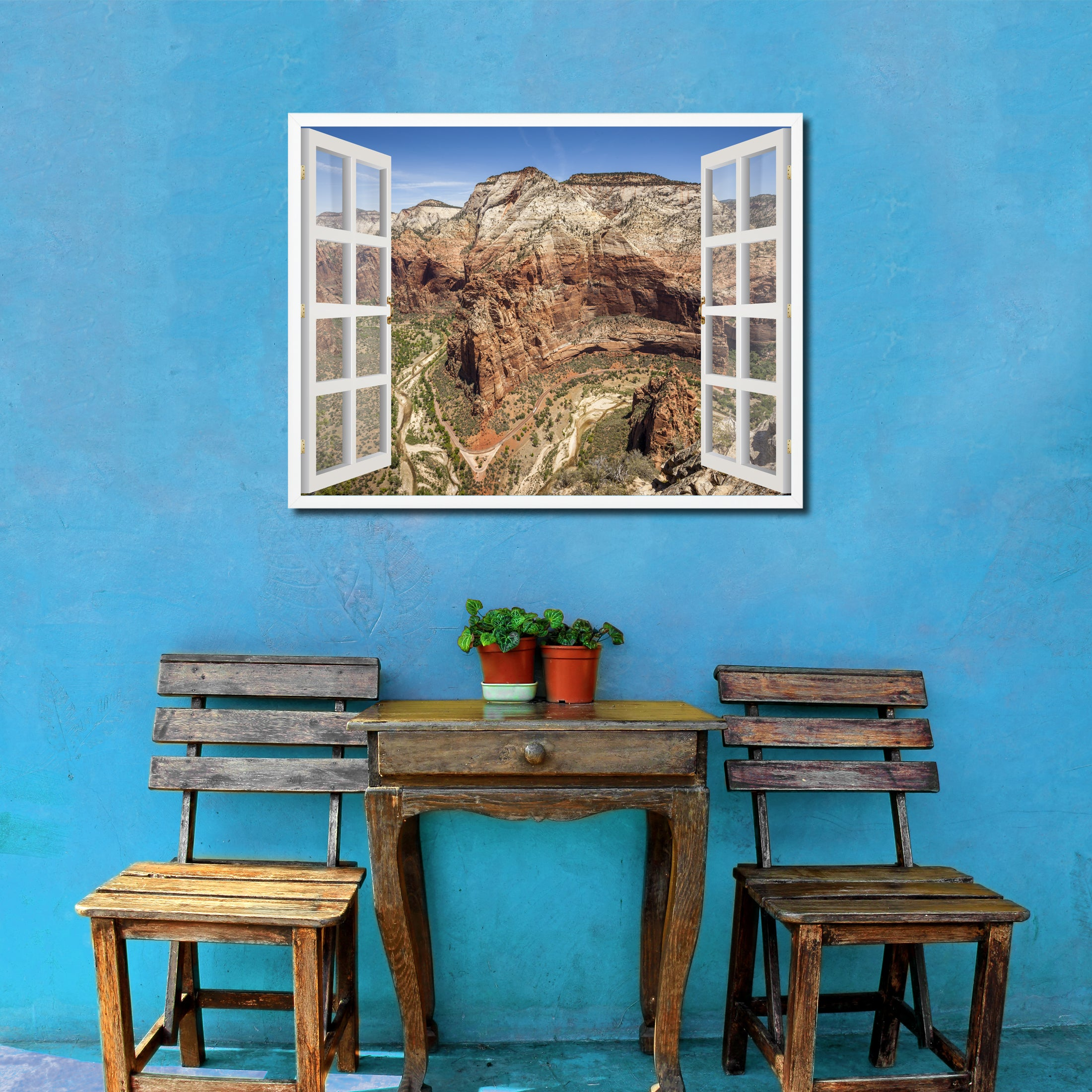 Aerial View Zion National Park Picture French Window Framed Canvas Print Home Decor Wall Art Collection