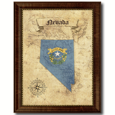 State Vintage History Flag Home Décor Office Wall Art Rustic Shabby ...