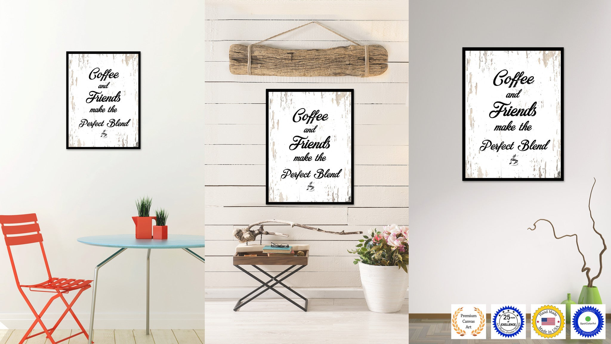 Coffee & Friends Make The Perfect Blend Quote Saying Canvas Print with Picture Frame