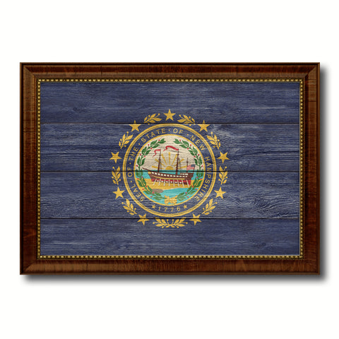 New Hampshire State Flag Texture Canvas Print with Brown Picture Frame Gifts Home Decor Wall Art Collectible Decoration