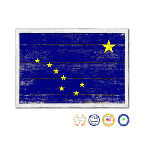 Alaska State Flag Shabby Chic Gifts Home Decor Wall Art Canvas Print, White Wash Wood Frame