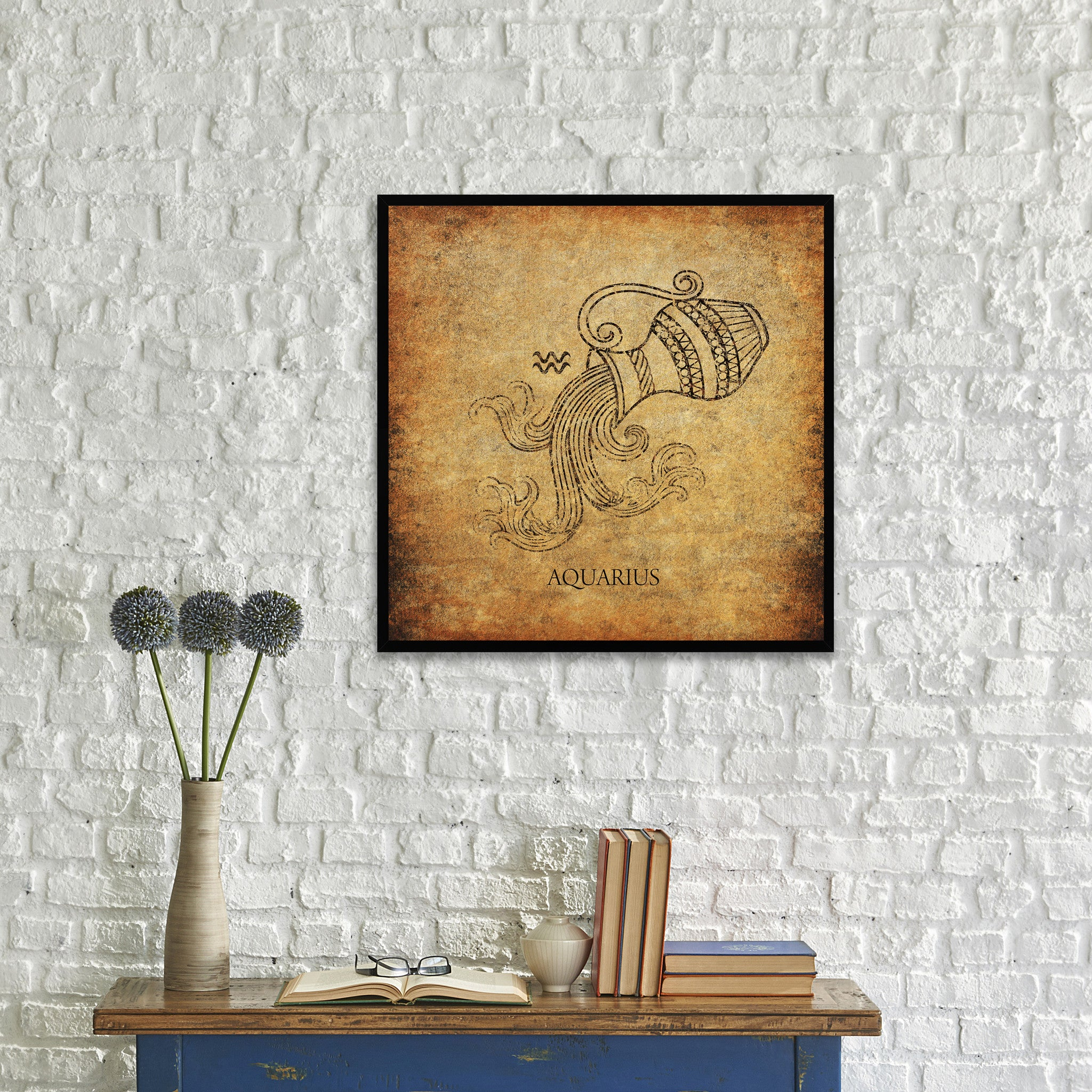 Zodiac Aquarius Horoscope Brown Canvas Print, Black Custom Frame