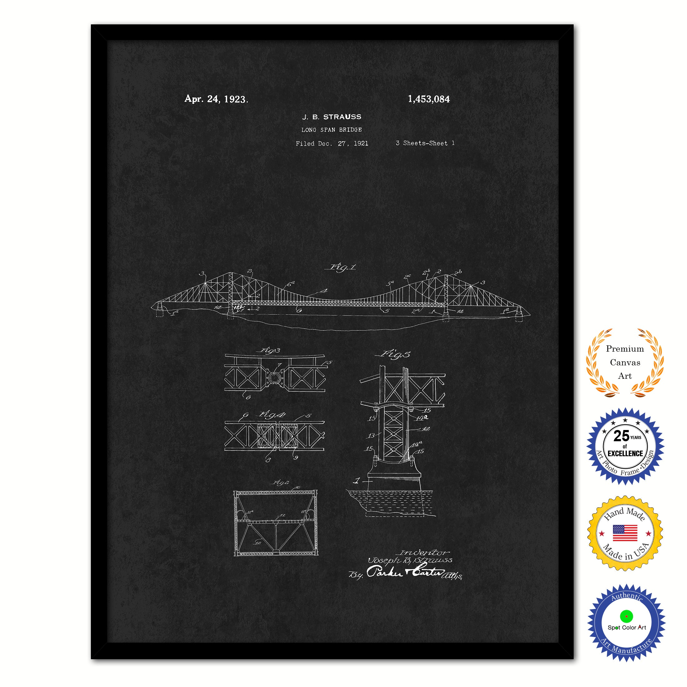 1923 Long Span Bridge Vintage Patent Artwork Black Framed Canvas Home Office Decor Great Gift for Engineers Architects Construction Workers