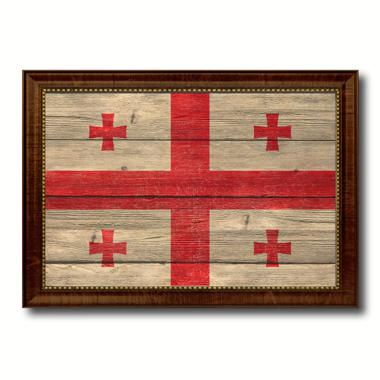Georgia Country Flag Texture Canvas Print with Brown Custom Picture Frame Home Decor Gift Ideas Wall Art Decoration