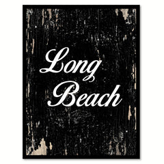 Long Beach City Vintage Sign Black Framed Canvas Print Home Decor Wall Art Collectible Decoration Artwork Gifts
