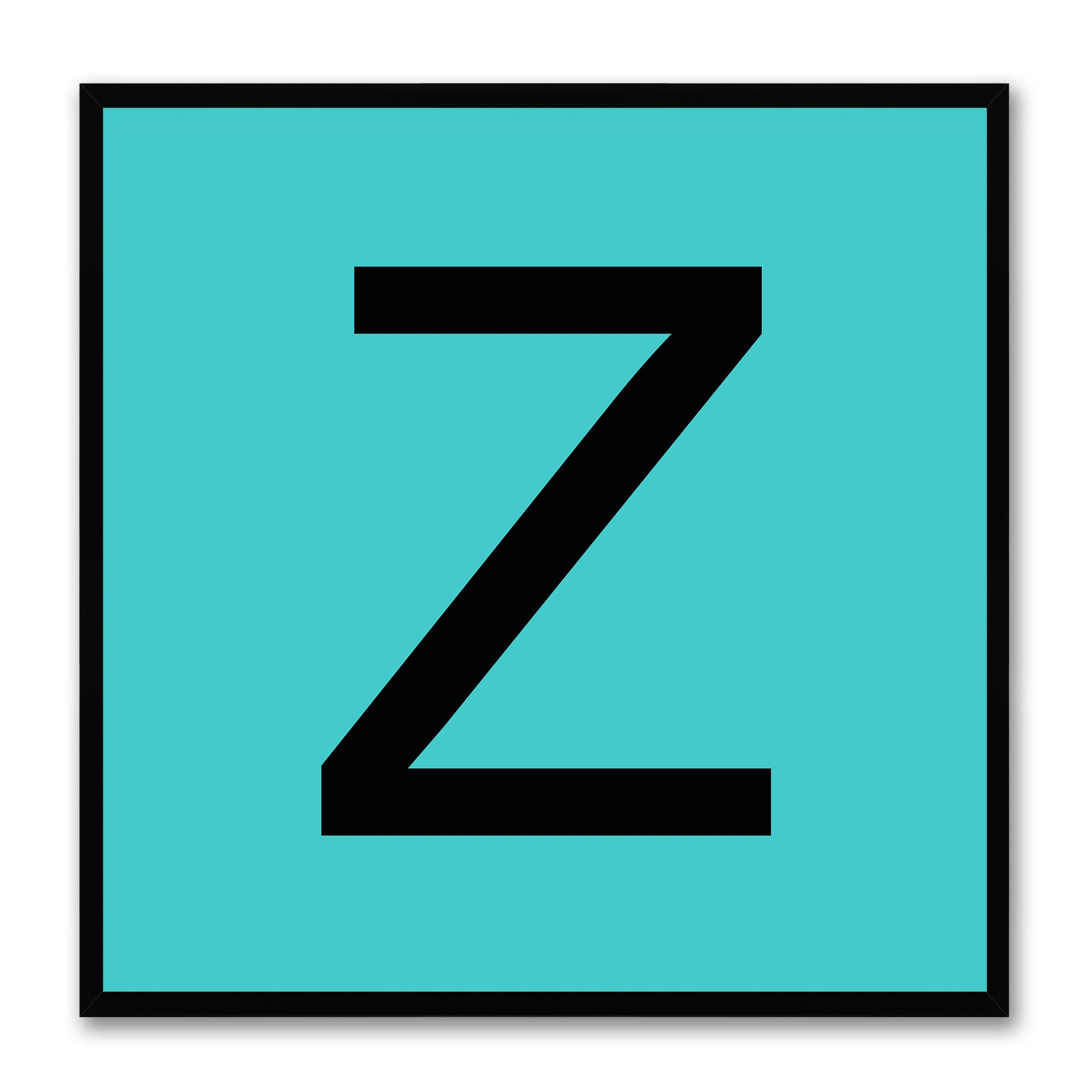 Alphabet Z Aqua Canvas Print Black Frame Kids Bedroom Wall Décor Home Art