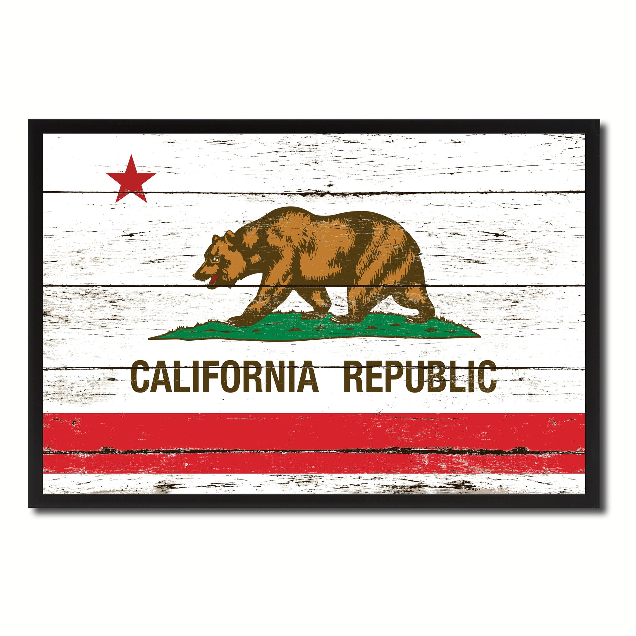 California State Flag Vintage Canvas Print with Black Picture Frame Home DecorWall Art Collectible Decoration Artwork Gifts