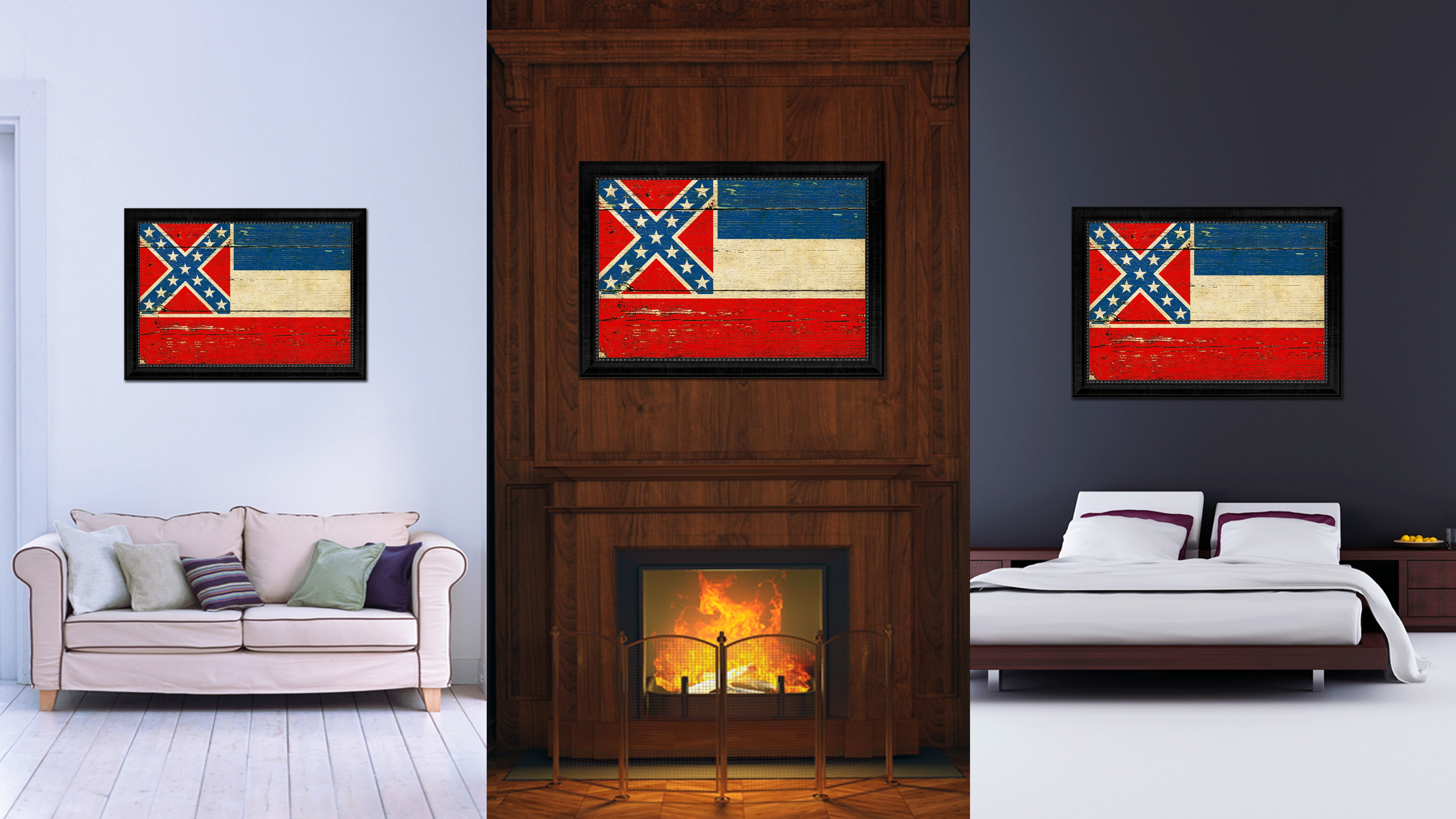 Mississippi State Vintage Flag Canvas Print With Black Picture Frame Home Decor Man Cave Wall Art