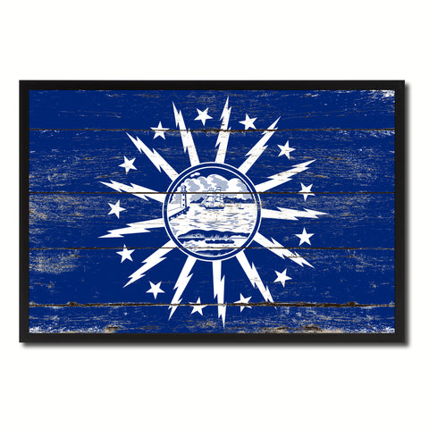 Buffalo City New York State Flag Vintage Canvas Print with Black Picture Frame Home Decor Wall Art Collectible Decoration Artwork Gifts