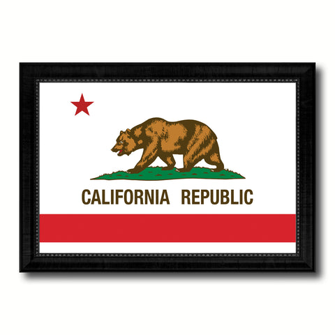 California State Flag Canvas Print with Custom Black Picture Frame Home Decor Wall Art Decoration Gifts