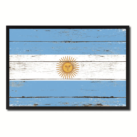 Argentina Country National Flag Vintage Canvas Print with Picture Frame Home Decor Wall Art Collection Gift Ideas
