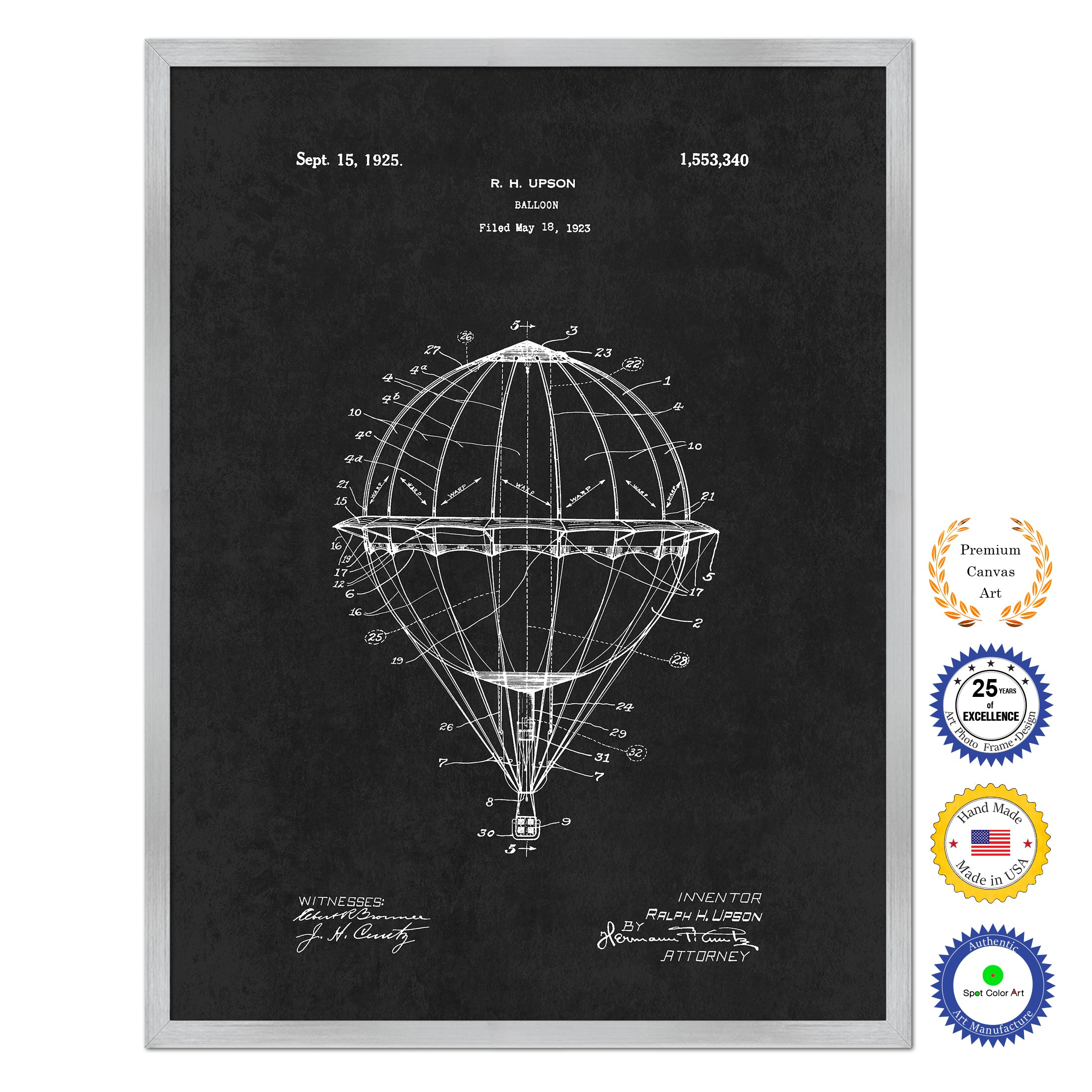 1925 Hot Air Balloon Antique Patent Artwork Silver Framed Canvas Home Office Decor Great Gift for Hot Air Balloon Lover