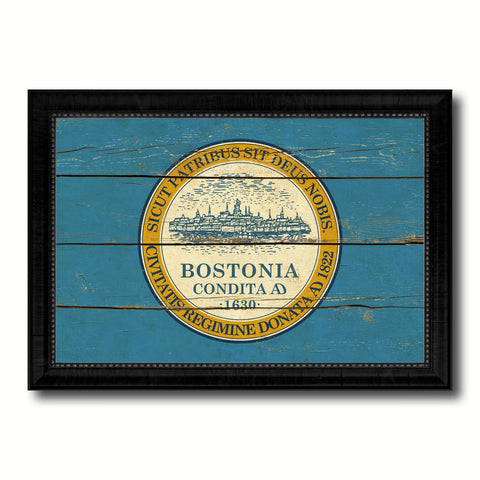 Boston City Massachusetts State Vintage Flag Canvas Print Black Picture Frame