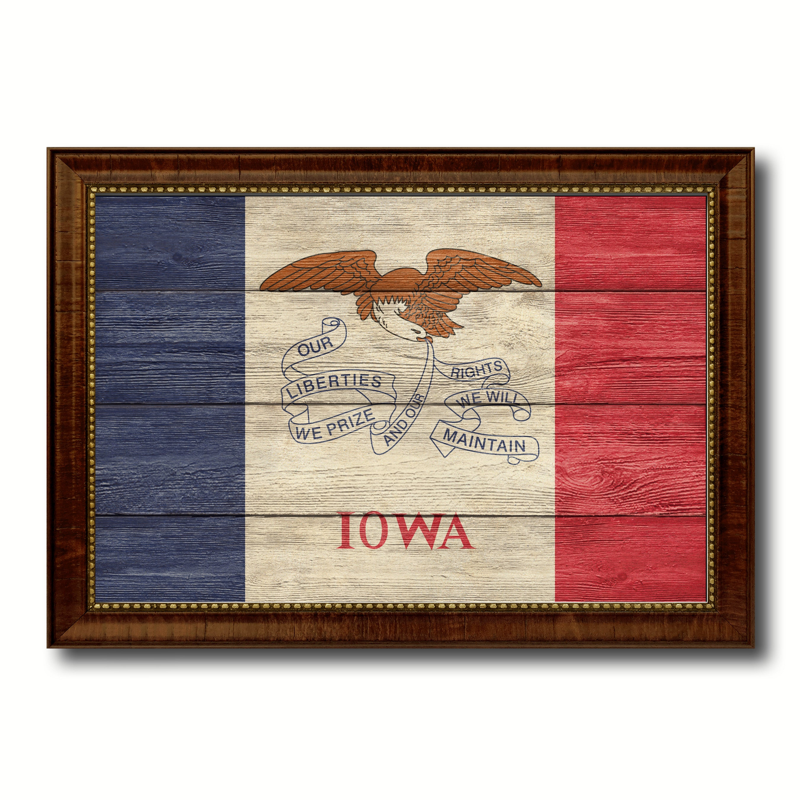 Iowa State Flag Texture Canvas Print with Brown Picture Frame Gifts Home Decor Wall Art Collectible Decoration