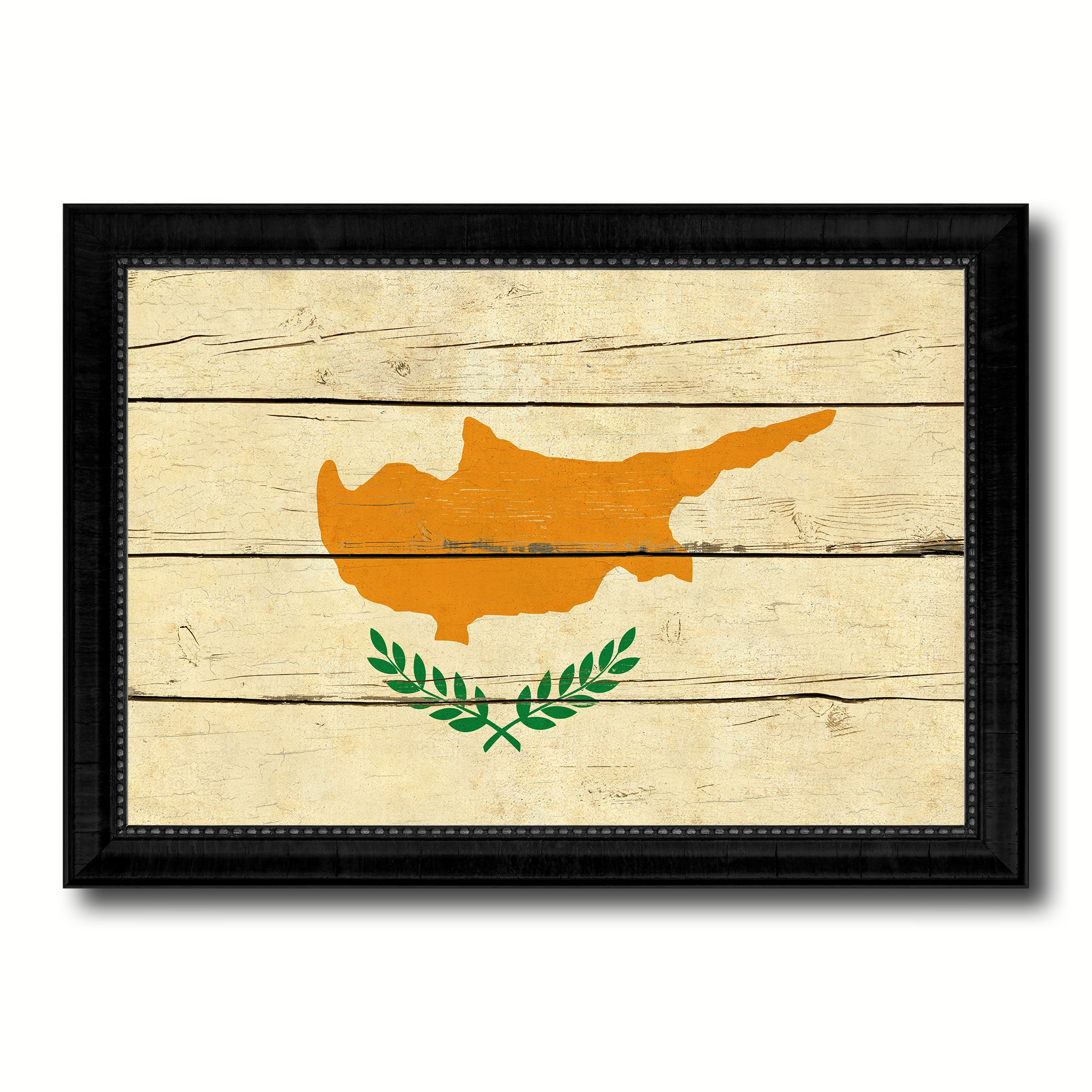 Cyprus Country Flag Vintage Canvas Print with Black Picture Frame Home Decor Gifts Wall Art Decoration Artwork