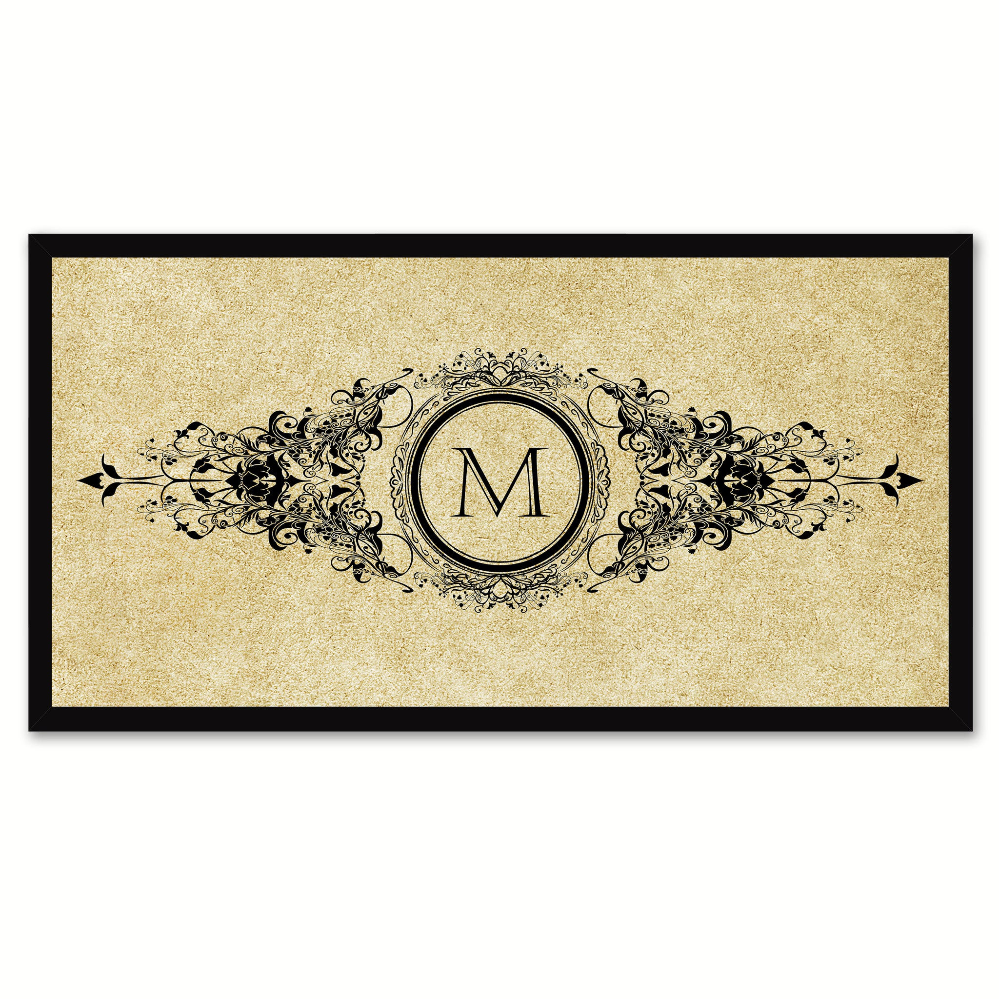 Alphabet Letter M Brown Canvas Print, Black Custom Frame