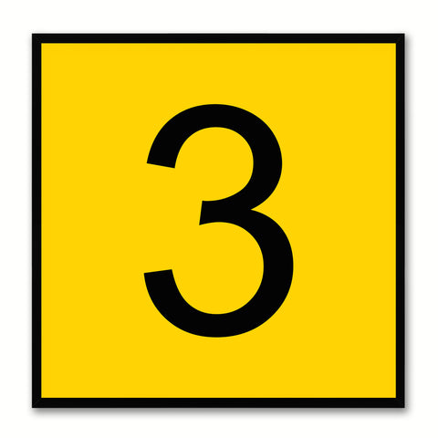 Number 3 Yellow Canvas Print Black Frame Kids Bedroom Wall Décor Home Art